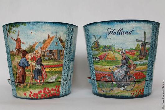 """Цветочные горшки ручной работы. Ярмарка Мастеров - ручная работа. Купить цветочный горшок """"Цветущая Голландия"""". Handmade. Синий, для цветов"""
