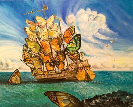 Фантазийные сюжеты ручной работы. Ярмарка Мастеров - ручная работа. Купить Волшебный корабль 40*50. Handmade. Бабочки, картина на заказ