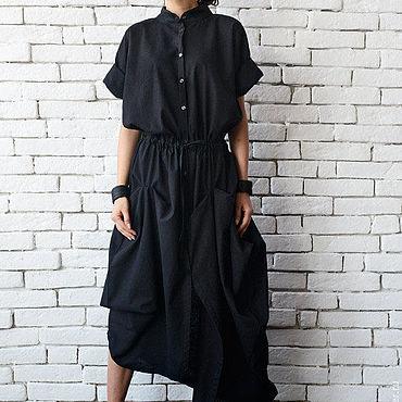 Одежда ручной работы. Ярмарка Мастеров - ручная работа Платье из льна, черное платье. Handmade.