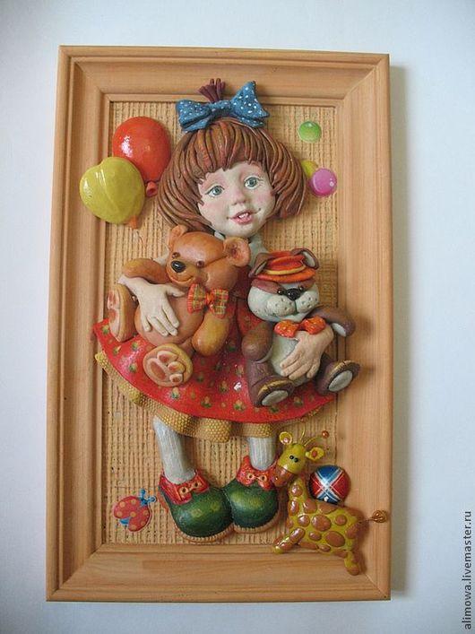 """Люди, ручной работы. Ярмарка Мастеров - ручная работа. Купить панно """"Маша ,медведь и еще куча всего"""". Handmade. Панно на стену"""