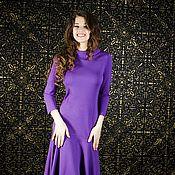 Одежда ручной работы. Ярмарка Мастеров - ручная работа 032:скидка, повседневное платье из джерси, офисное платье фиолетовое. Handmade.