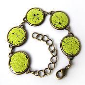 Украшения handmade. Livemaster - original item Lime green bracelet with enamel. Handmade.
