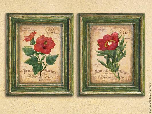 Картины цветов ручной работы. Ярмарка Мастеров - ручная работа. Купить Две картины Красные цветы в зеленых состаренных рамах. Handmade.