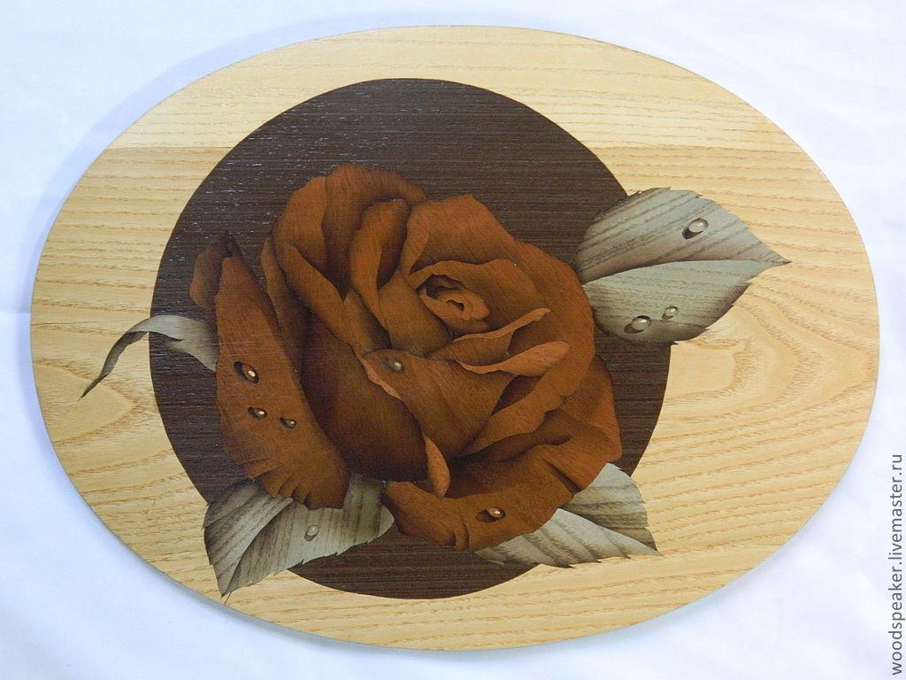 """Купить """"Роза в эллипсе"""" шпон-маркетри 2012г. - шпон, маркетри, роза, цветы, капли, роса"""