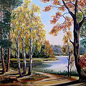 Картины и панно ручной работы. Ярмарка Мастеров - ручная работа Рассвет у озера. Handmade.
