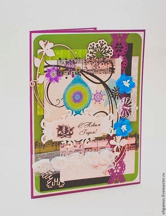 Открытки к Новому году ручной работы. Ярмарка Мастеров - ручная работа. Купить Новогодняя открытка (большая) 6. Handmade. Зеленый