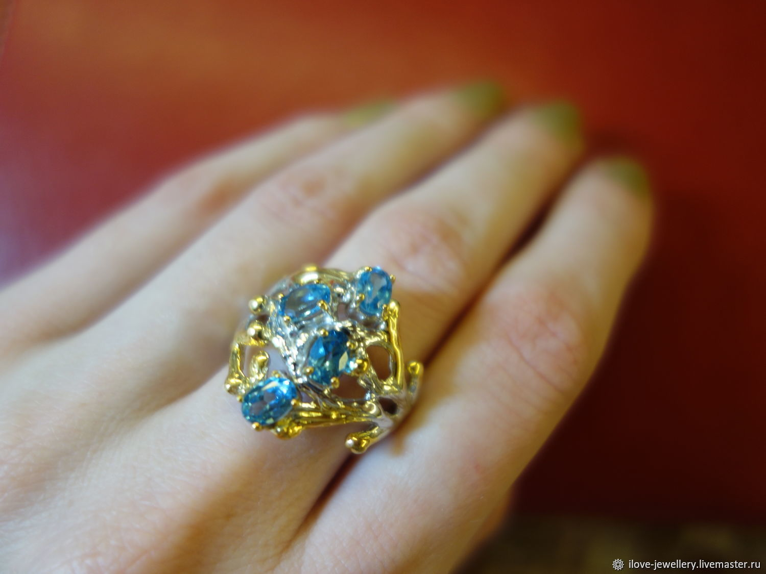 'Jayanti ' - art ring 19,3 p with sky-blue Topaz, Rings, Moscow,  Фото №1
