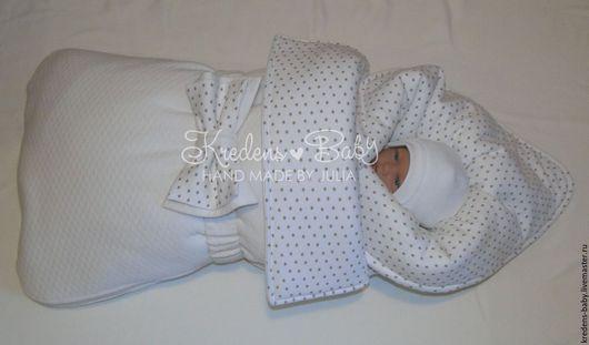 """Для новорожденных, ручной работы. Ярмарка Мастеров - ручная работа. Купить Комплект на выписку """"Звездный мишка"""". Handmade. Белый, интерлок"""