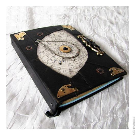 """Ежедневники ручной работы. Ярмарка Мастеров - ручная работа. Купить Кожаный ежедневник """"Solar System - Zodiac signs"""" с фианитами. Handmade."""