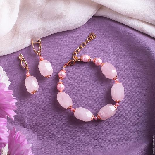 Браслеты, серьги ручной работы. Ярмарка Мастеров - ручная работа. Купить комплект украшений Розовая дымка. Handmade. Розовый, светло-розовый
