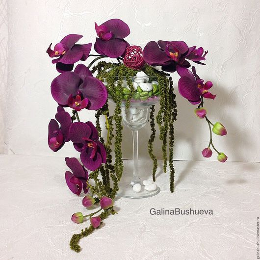 """Интерьерные композиции ручной работы. Ярмарка Мастеров - ручная работа. Купить """" Любовь к орхидеям """"  интерьерная композиция в  бокале.. Handmade."""
