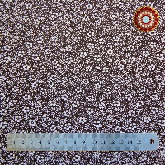 Ткань хлопок `Лапчатка коричневый`. Код товара: ZT-00028
