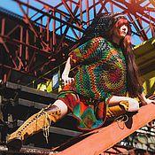"""Одежда ручной работы. Ярмарка Мастеров - ручная работа Платье туника """"Настоящему индейцу"""" крючком и спицами. Handmade."""