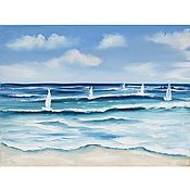 Картины и панно handmade. Livemaster - original item Oil painting Sailboats Seascape. Handmade.