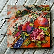 "Канцелярские товары handmade. Livemaster - original item Recipe book wood cover 22x22sm ""Pomegranates"". Handmade."