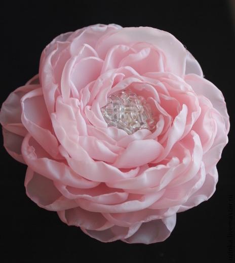 """Броши ручной работы. Ярмарка Мастеров - ручная работа. Купить Цветок-брошь """"Нежность"""". Handmade. Бледно-розовый, брошь-цветок"""