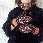 "Аксессуары handmade. Livemaster - original item Комплект снуд и варежки ""Добавим оранжевого"". Handmade."