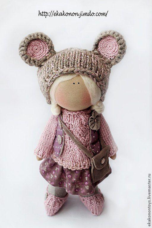 Коллекционные куклы ручной работы. Ярмарка Мастеров - ручная работа. Купить Мышка-малышка. Handmade. Брусничный, сливовый, в горошек, мышиный