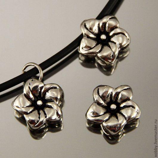 Бусина подвеска металлическая Цветок с покрытием имитация античное серебро для использования в сборке украшений