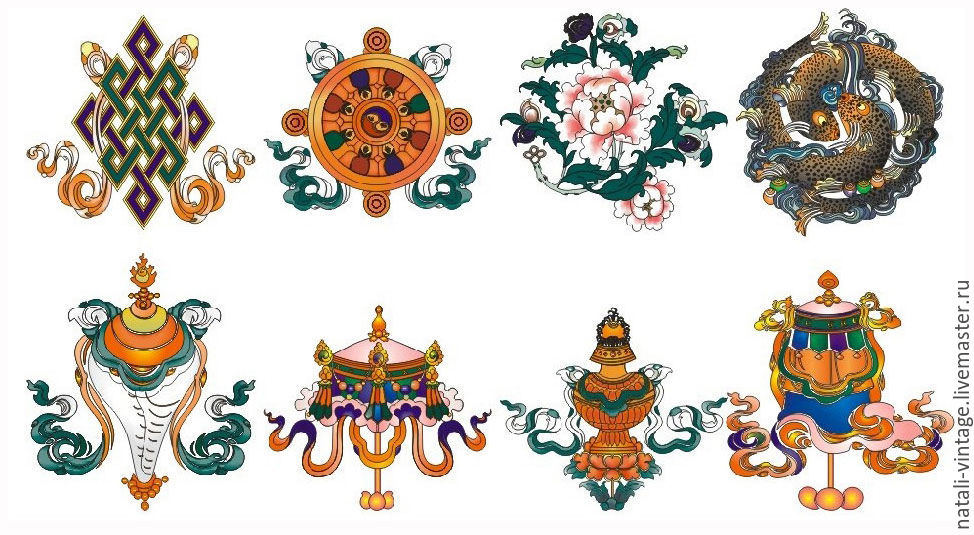 Buddhist eight spoked wheel symbol