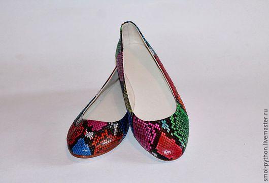 Обувь ручной работы. Ярмарка Мастеров - ручная работа. Купить Новинка! Балетки из кожи питона (внутри нат.кожа). Handmade.
