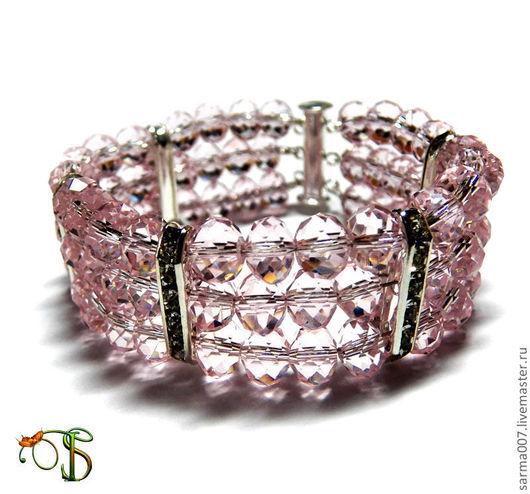 """Браслеты ручной работы. Ярмарка Мастеров - ручная работа. Купить Браслет """"Розовый лед"""". Handmade. Розовый, браслет из камней"""