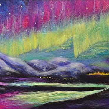 Картины и панно ручной работы. Ярмарка Мастеров - ручная работа Картина из шерсти Северное сияние. Handmade.