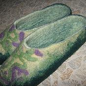 """Обувь ручной работы. Ярмарка Мастеров - ручная работа Тапочки из шерсти """"Зеленая лужа"""". Handmade."""