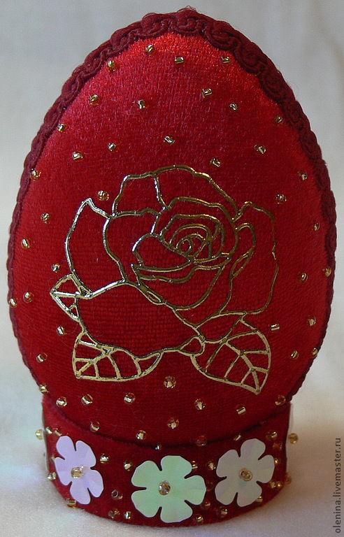 """Подарки на Пасху ручной работы. Ярмарка Мастеров - ручная работа. Купить Яйцо пасхальное """"Роза"""". Handmade. Ярко-красный, подарок"""