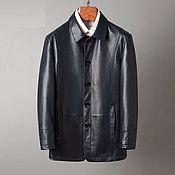 Мужская одежда handmade. Livemaster - original item Men`s outerwear, insulated long jacket made of calf leather.. Handmade.