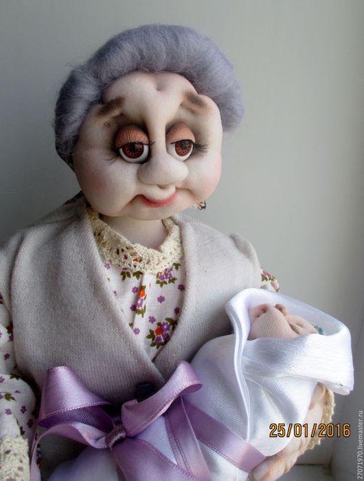 Человечки ручной работы. Ярмарка Мастеров - ручная работа. Купить интерьерная кукла - оберег Бабушка с внуком. Handmade. Комбинированный