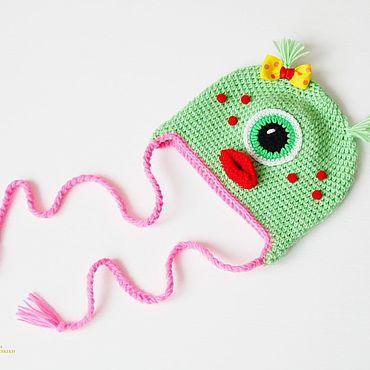 "Clothing handmade. Livemaster - original item Вязаная шапочка "" Монстрик "". Handmade."