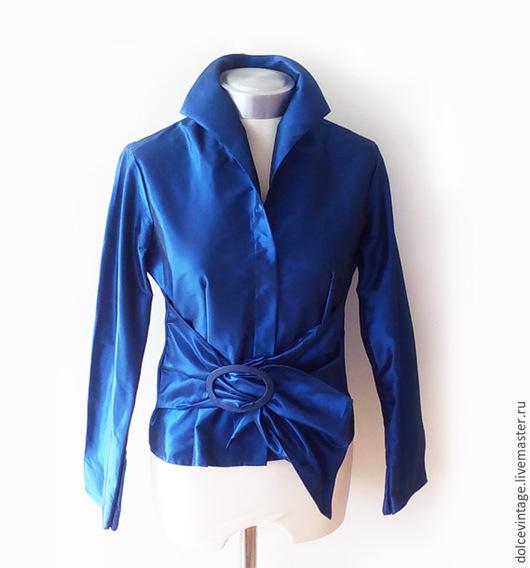 Винтажный синий жакет, нарядный итальянский жакет.