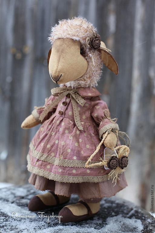 Ароматизированные куклы ручной работы. Ярмарка Мастеров - ручная работа. Купить Овечка в горошек.. Handmade. Брусничный, подарок, мех