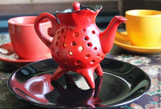 Освещение ручной работы. Ярмарка Мастеров - ручная работа. Купить Теплый чайник.. Handmade. Ярко-красный, теплый подарок