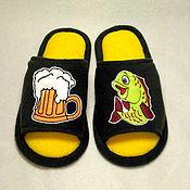 Обувь ручной работы handmade. Livemaster - original item Men`s Slippers with applique for every taste. Handmade.