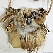 Сумки и аксессуары handmade. Livemaster - original item clutches: Handbag with fur flower. Handmade.