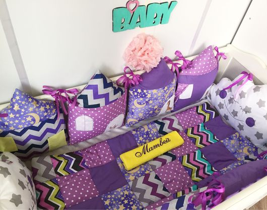 """Для новорожденных, ручной работы. Ярмарка Мастеров - ручная работа. Купить Комплект в кроватку """" фиолетовое царство"""". Handmade."""