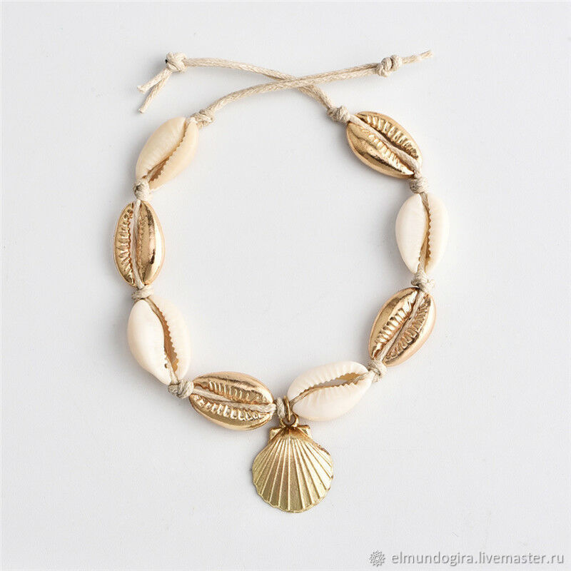 Anklet made of shells Kauri gold plating, Bead bracelet, Moscow,  Фото №1