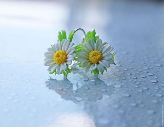 """Серьги ручной работы. Ярмарка Мастеров - ручная работа. Купить """"Ромашки"""" серьги. Handmade. Белый, цветы, подарок на любой случай"""