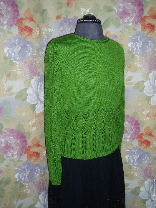 Кофты и свитера ручной работы. Ярмарка Мастеров - ручная работа. Купить джемпер из шерсти Весна. Handmade. Зеленый, джемпер ажурный