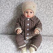 Вязаный костюм детский. Комплект одежды, полушерсть, кофе меланж