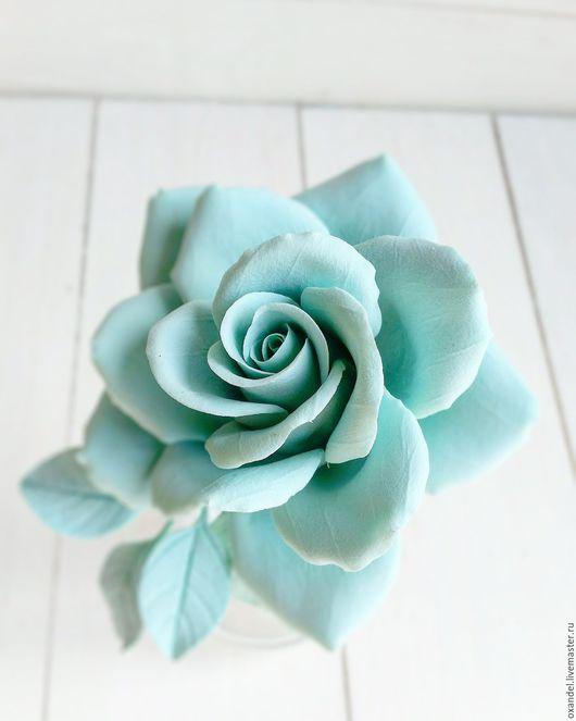 Броши ручной работы. Ярмарка Мастеров - ручная работа. Купить Заколка-брошь мятная роза. Handmade. Мятный, брошь цветок