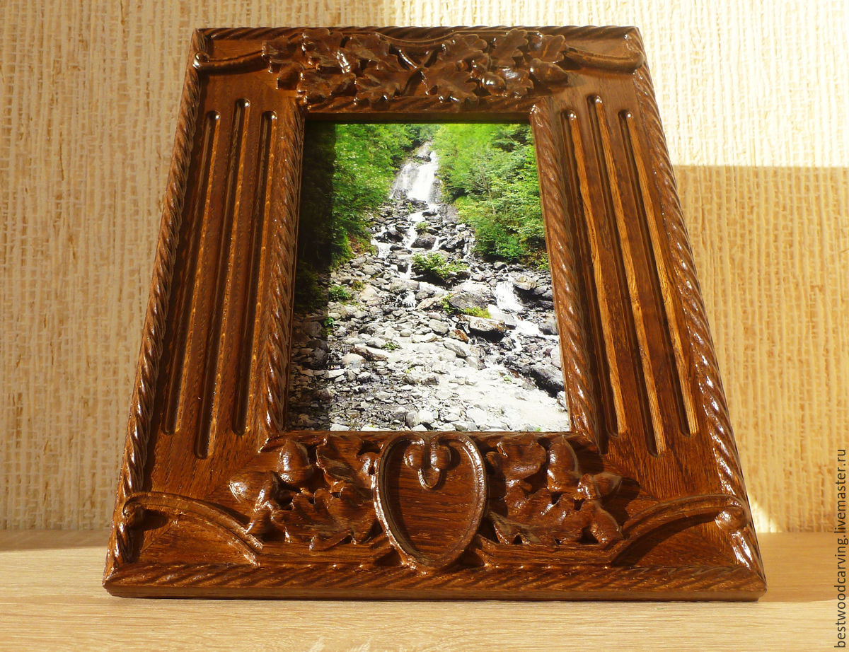 wood carving made of solid oak picture frame 4x6 frame