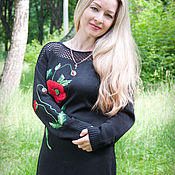 Одежда ручной работы. Ярмарка Мастеров - ручная работа Вязаное платье с вышивкой маки. Handmade.
