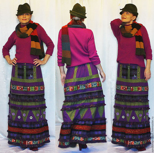 """Юбки ручной работы. Ярмарка Мастеров - ручная работа. Купить юбка """"Адреналин"""". Handmade. Комбинированный, юбка теплая, юбка с бахромой"""