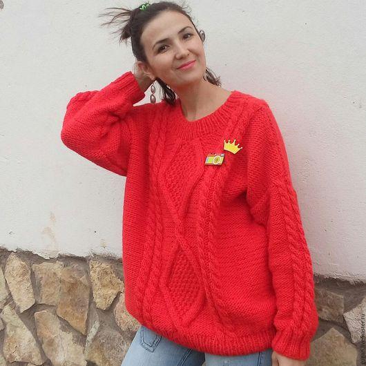 Кофты и свитера ручной работы. Ярмарка Мастеров - ручная работа. Купить Вязаный свитер оверсайз. Handmade. Ярко-красный, свитер