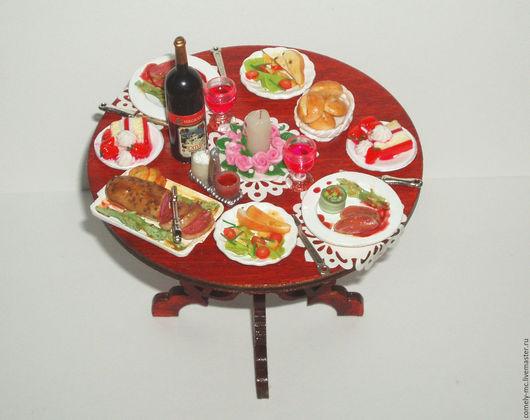 """Еда ручной работы. Ярмарка Мастеров - ручная работа. Купить Столик """" Ужин для двоих"""". Handmade. Кукольная миниатюра"""