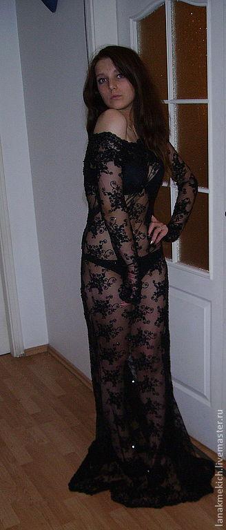 Vestido Negro De Encaje Largo 3d