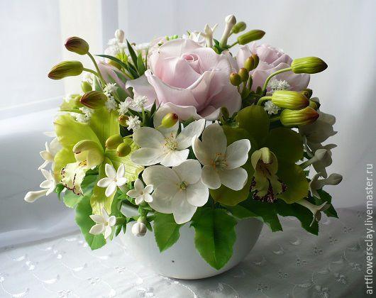 Букеты ручной работы. Ярмарка Мастеров - ручная работа. Купить Букет с орхидеями из полимерной глины. Handmade. Разноцветный, орхидея из глины